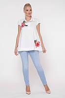 Річна блузка з вишивкою намистинами, з 50-58 розмір, фото 1