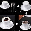 Трафареты для кофе( 16 шт. ) + Ёмкость для какао и до. с ситом(шейкер) + Мерная ложка для кофе с зажимом, фото 2