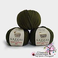Пряжа  Baby cotton 25  (Бэби коттон 25), 3463, хаки