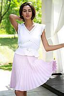Плиссированная розовая короткая юбка 19-73 (08), фото 1