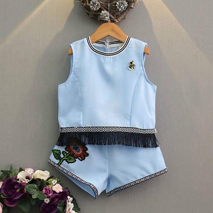 Нарядный летний костюм  на девочку футболка+шорты  3-7 лет голубой с бахромой, фото 2