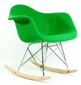 Кресло-качалка Leon Шерсть, зеленое