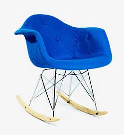 Кресло-качалка Leon Шерсть, синее