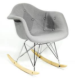Кресло-качалка Leon Шерсть, серое