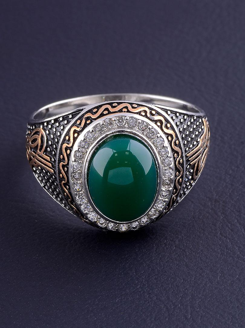 029508-200 Кольцо Хризопраз (серебро/золото)