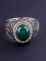 029508-200 Кольцо Хризопраз (серебро/золото), фото 1