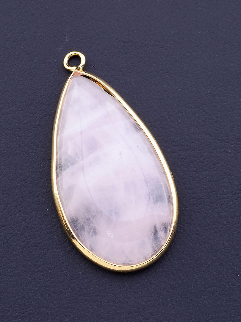 Кулон на шею с натуральным камнем Розовый кварц 40x20мм