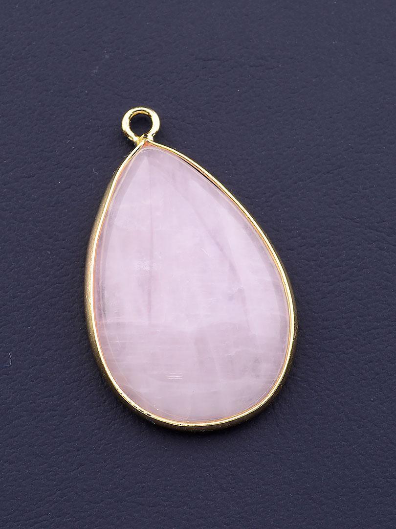 Кулон на шею с натуральным камнем Розовый кварц 35x20мм
