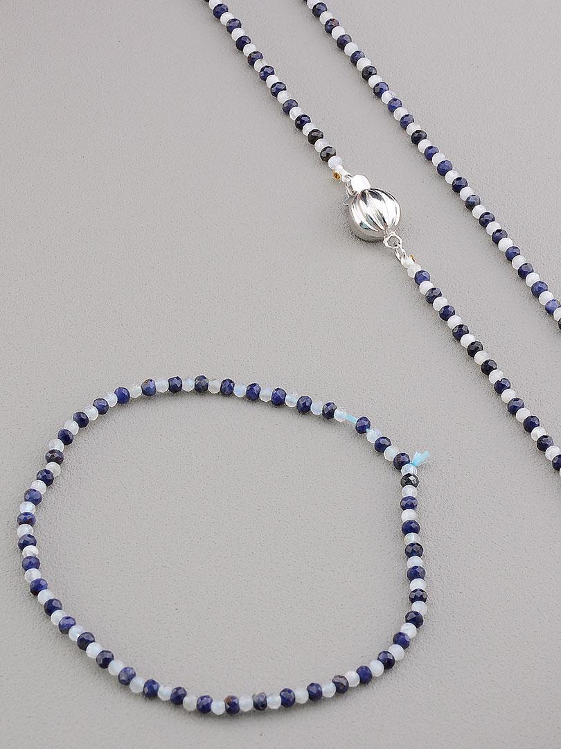 Комплект женских украшений состав набора бусы и браслет на руку SUNSTONES из натурального камня Сапфир 41 см