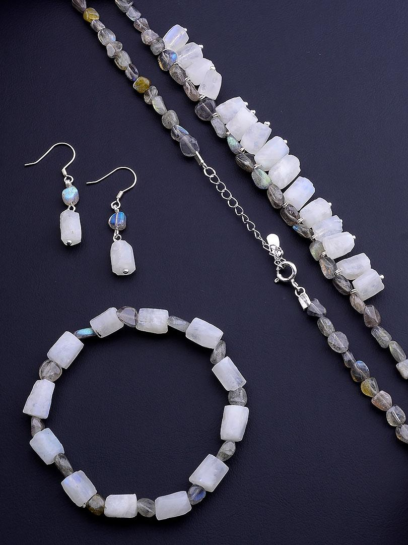 Бусы+Браслет+Серьги 'SUNSTONES' Лунный камень,Лабрадор