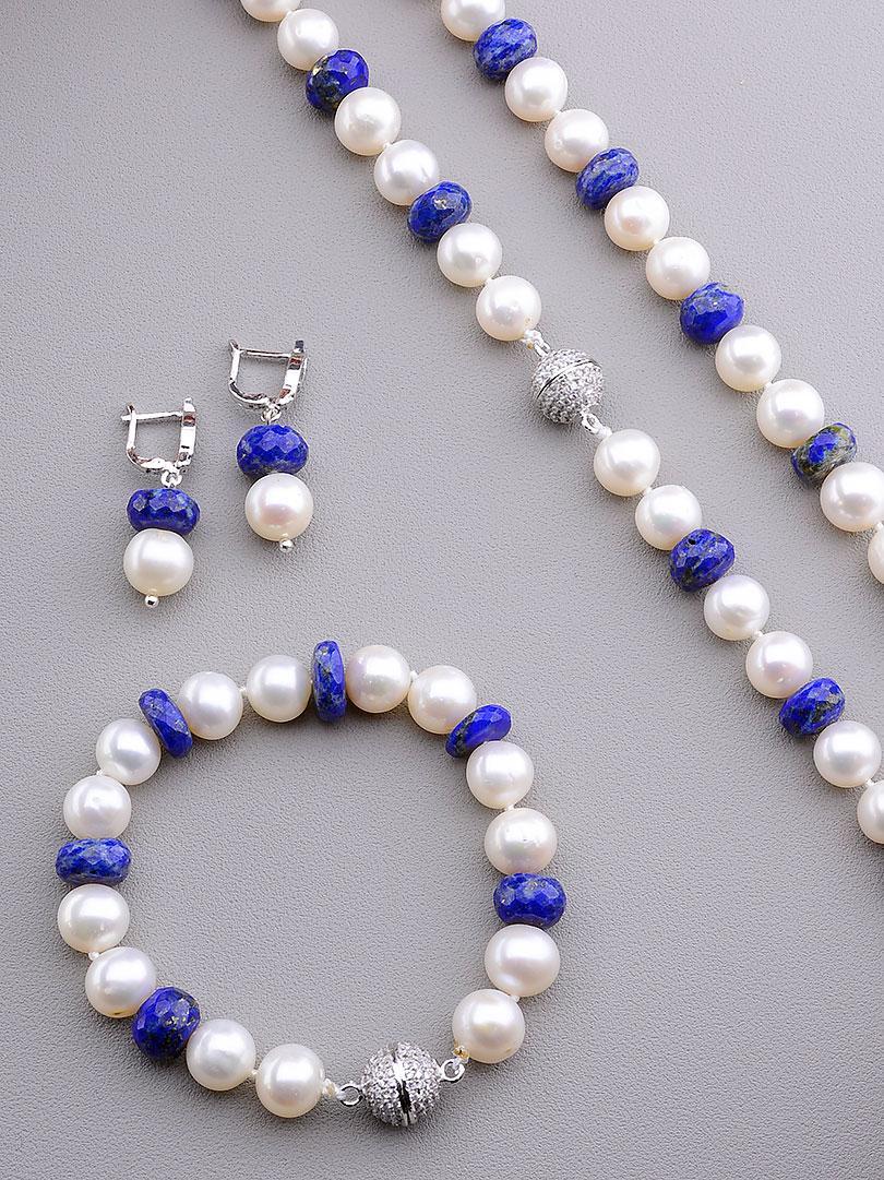 Оригинальный комплект украшений из жемчуга высокого качества и синего ювелирного лазурита SUNSTONES
