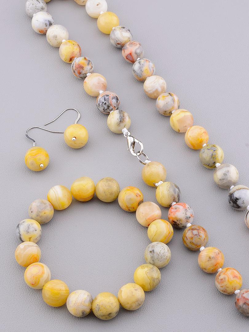 Комплект женских украшений из натуральной яшмы состав бусы браслет серьги SUNSTONES 50 см