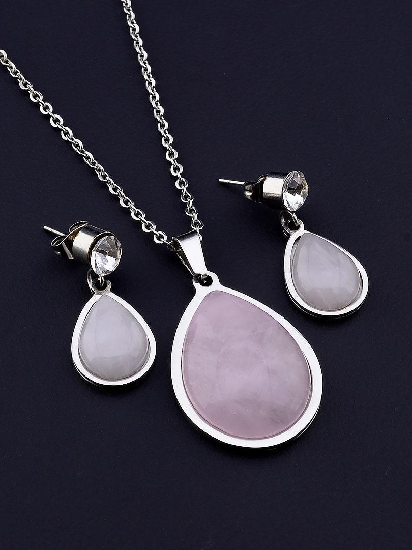 061575 Подвеска+Серьги 'Stainless Steel' Розовый кварц 45 см.