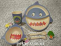 Набор детской эко посуды, бамбуковая посуда АКУЛА