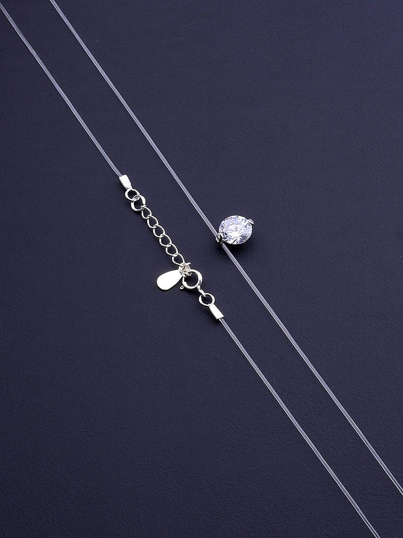 067520 Подвеска  Фианит 40 см. Серебро(925)