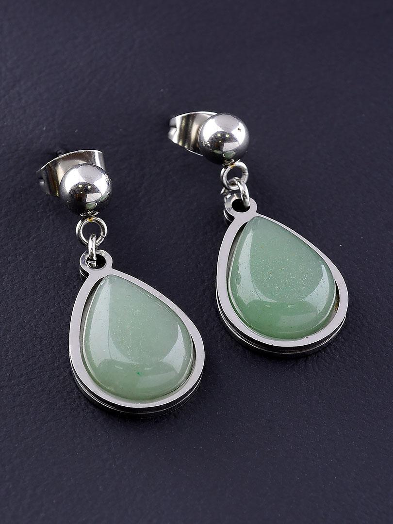 Серьги женские оригинальные с натуральным камнем Нефрит зеленого цвета бренд Stainless Steel