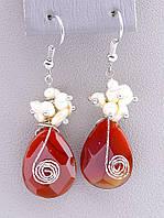 Серьги женские в стиле Hand Made с натуральным камнем Сердолик и Жемчуг