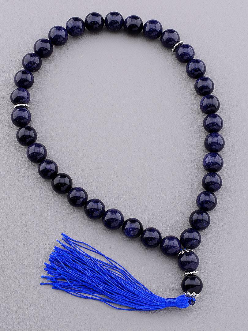 Четки на 33 бусины имитация камня каирская ночь цвет тёмно-синий диаметр бусин 12 мм с кисточкой
