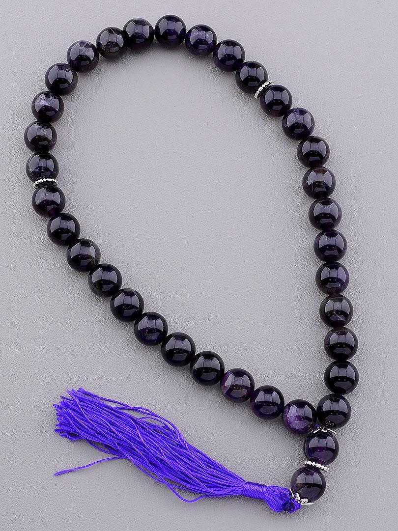 Четки. Камень  Аметист. Цвет фиолетовый. Длина 40 см.