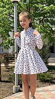 Легкое детское платье №741 (р.128-140) белое горох
