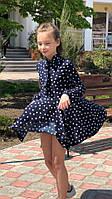 Легкое детское платье №741 (р.128-140) синий
