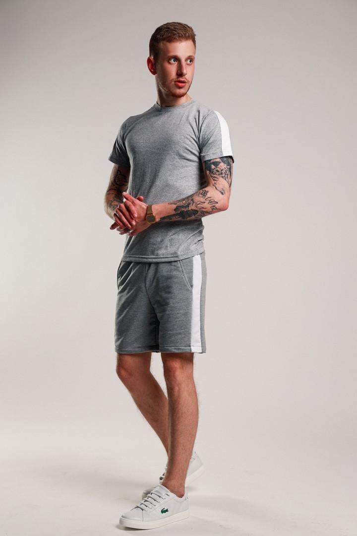 Мужской летний комплект с лампасами (шорты+футболка), серо-белый мужской спортивный комплект