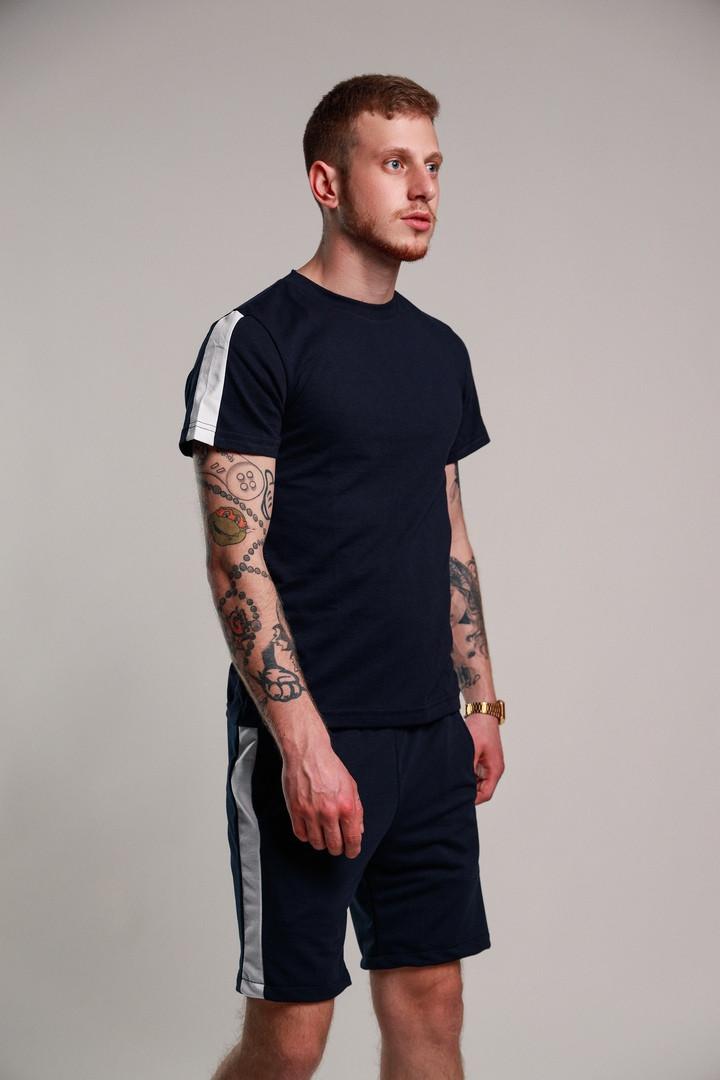 Мужской летний комплект с лампасами (шорты+футболка), синий мужской спортивный комплект