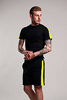 Мужской летний комплект с лампасами (шорты+футболка), черно-желтый мужской спортивный комплект