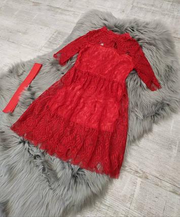 Платье нарядное детское кружевное на девочку длинный рукав красное 3-года, фото 2