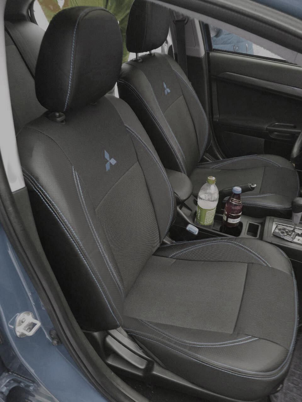Чехлы на сиденья Субару Аутбек (Subaru Outback) (модельные, экокожа+автоткань, отдельный подголовник)