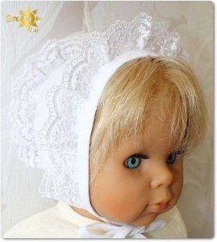 Чепчик для новорожденных с кружевом