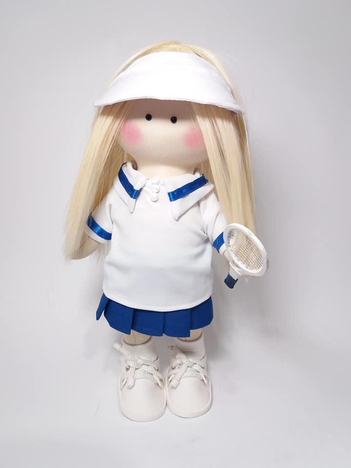 Лялька-тильда тенісистка, лялька в подарунок