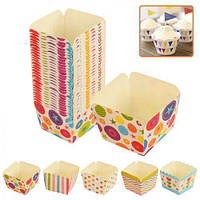 Формочки бумажные для кексов квадрат 100шт/уп 48*48*48мм