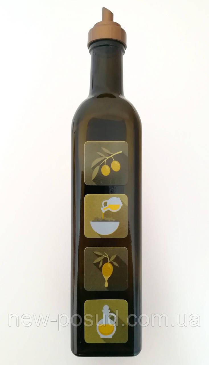 Оливковая бутылка 500 мл стеклянная с пластиковым дозатором для масла Everglass 1400-D1