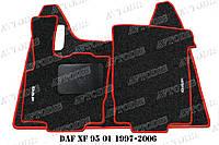 DAF XF 95 АКПП ворсовые коврики (чёрный-красный) ЛЮКС