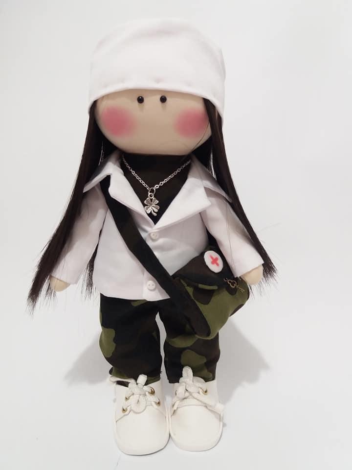 Лялька текстильна Військова медсестра, лялька для подарунку медсестрі