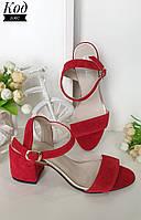 Удобные модные босоножки на устойчивом каблуке Код 2067 красная замша, фото 1