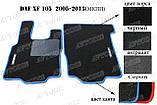 DAF XF 105 МКПП ворсовые коврики (чёрный-синий) ЛЮКС, фото 2