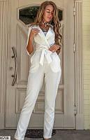 ЖЕНСКИЙ - СТИЛЬНЫЙ КОМБИНЕЗОН СО ШТАНАМИ. цвет - белый. размеры 42-44. 46-48