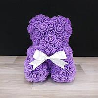 25см Мишка из 3D роз Teddy De Luxe Rose Bear, в коробке 2019 фиолетовый