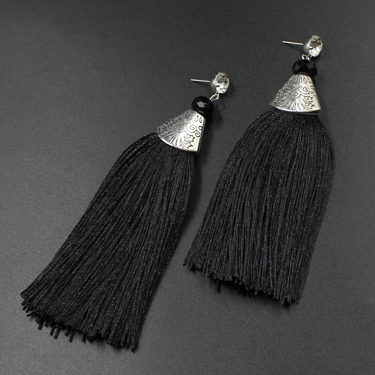 """Серьги-кисти (кисточки)  """"Arabellas Black"""" L - 10 см"""