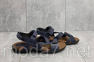 Подростковые (женские) кожаные босоножки корка синие, фото 3