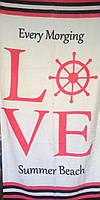 Пляжное полотенце Love Summer Beach белый, махра Турция 75*150 см