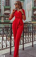 ЖЕНСКИЙ - СТИЛЬНЫЙ КОМБИНЕЗОН СО ШТАНАМИ. цвет - красный. размеры 42-44. 46-48