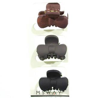 KATTi Краб для волос 28 825 малый карбон бант Ш2,5 (слива, шоколад, черный) 3шт, фото 2