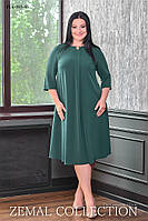 Женсое батальное платье из креповой ткани силуэт трапеция 48,50,52,54,56,58р ТЕМНО-ЗЕЛЕНОЕ