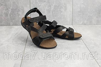 Подростковые (женские) кожаные босоножки корка черные