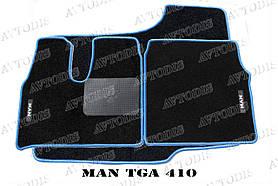 MAN TGA ворсовые коврики (широкая кабина)(чёрный-синий) ЛЮКС