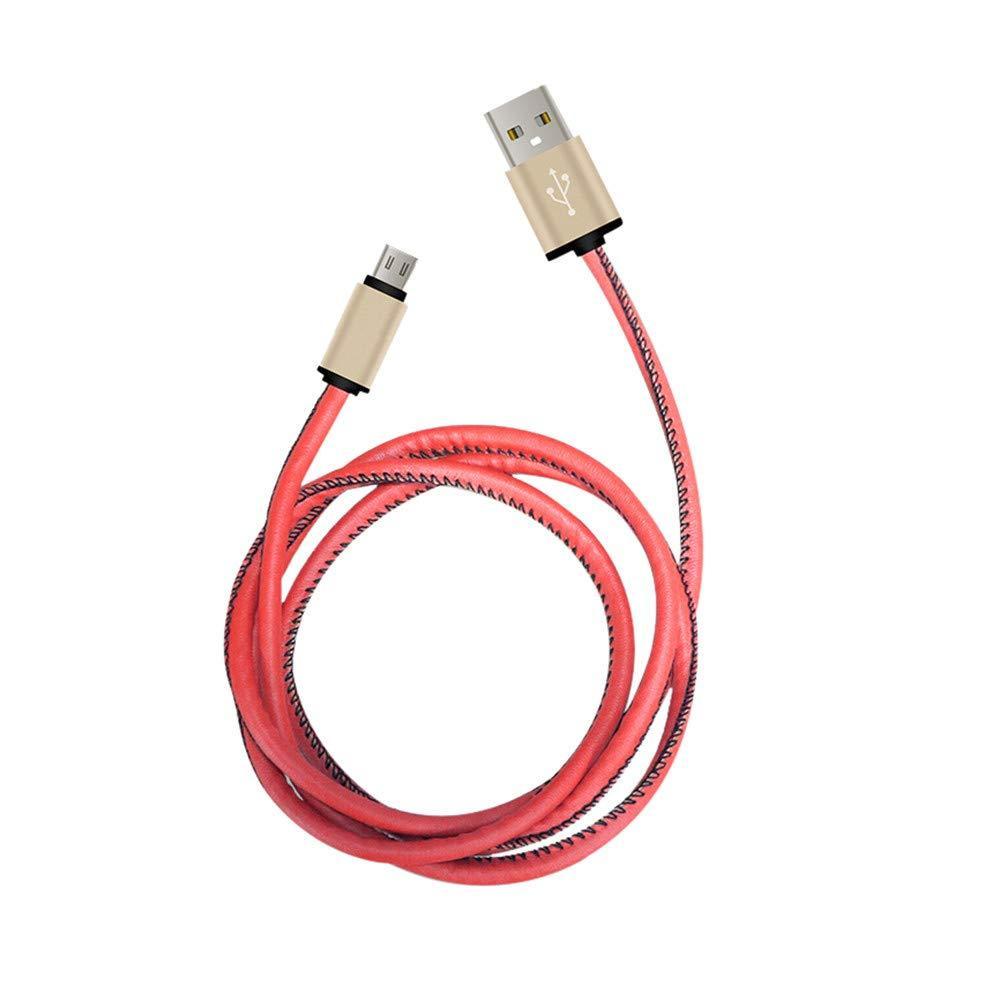 Кабель Micro USB в кожаной оплётке X47 красный