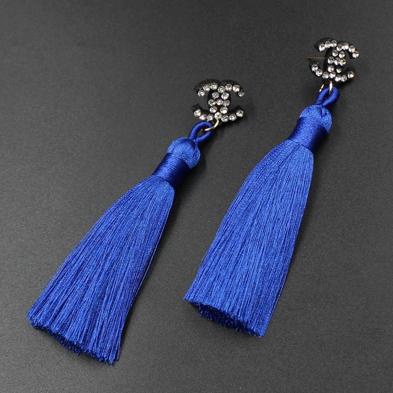 "Серьги-кисти (кисточки)  ""Beterish  blue"" L - 9,5 см"